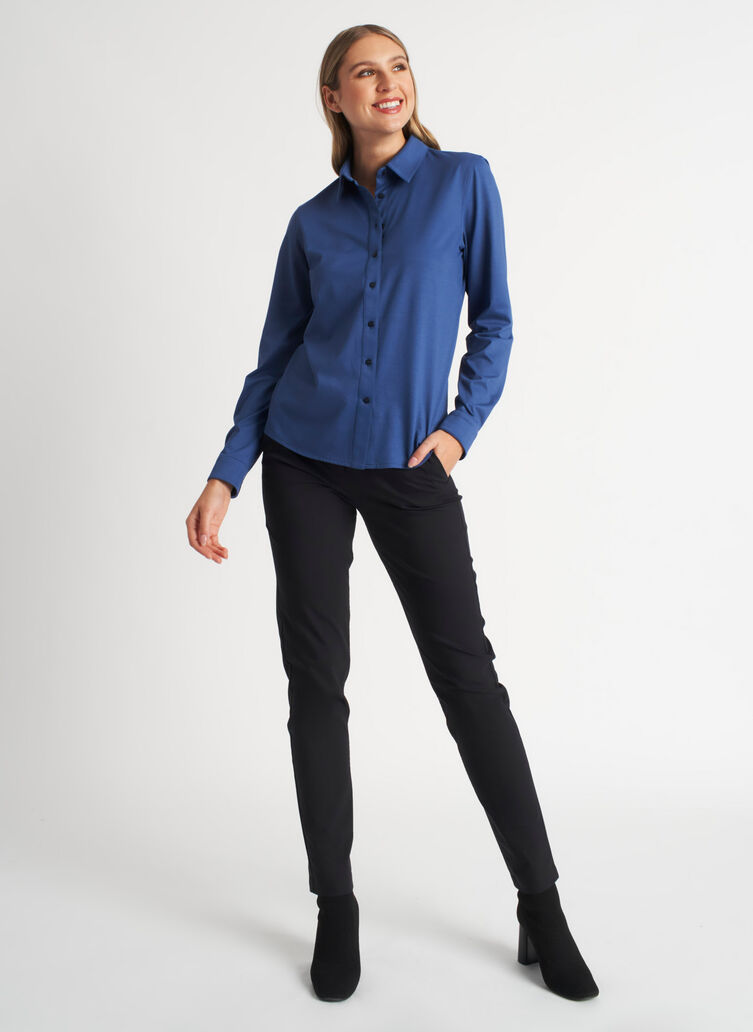 On the Move Classic Blouse, Dark Denim | Kit and Ace