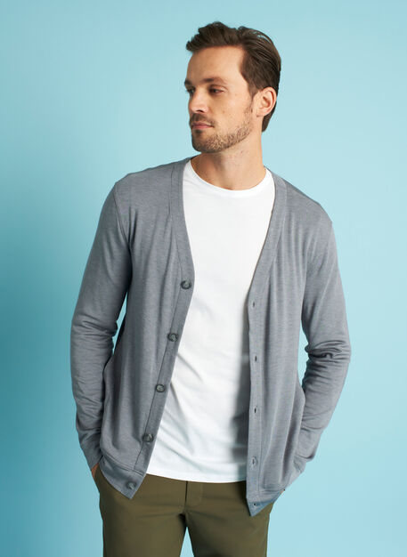Chillin Brushed Cardigan, Heather Shade | Kit and Ace