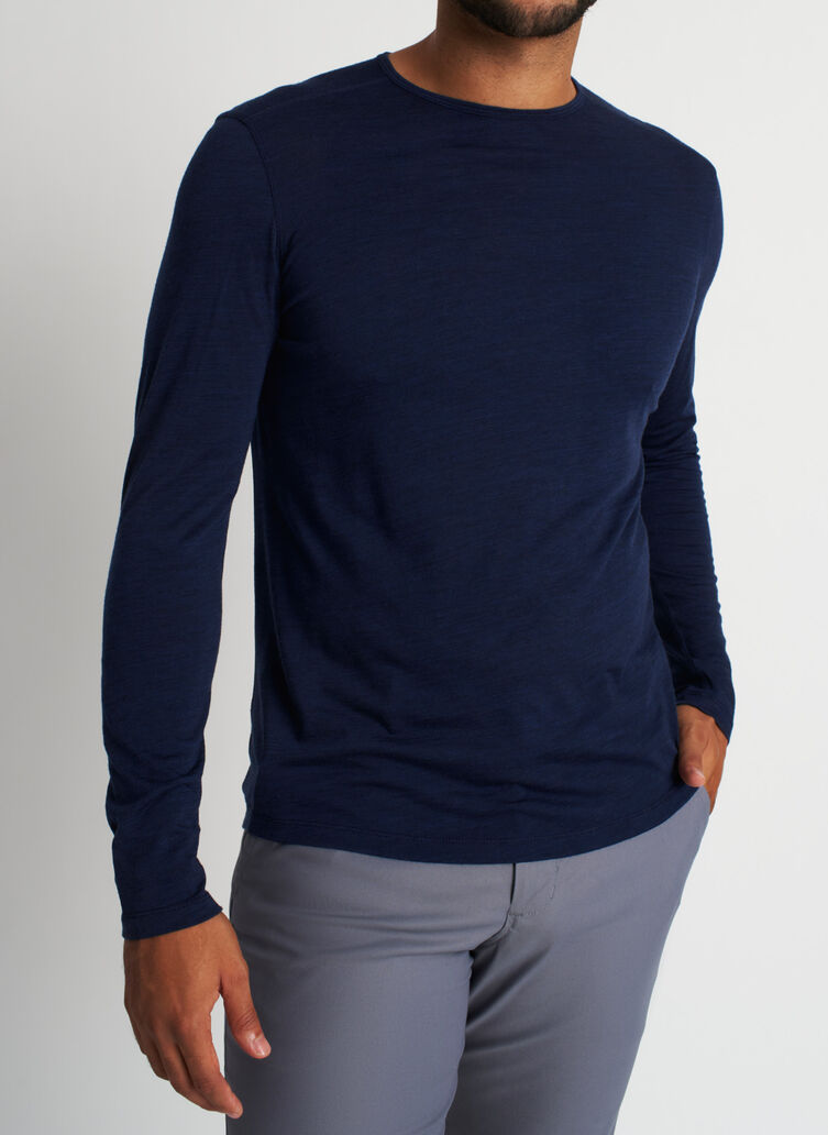 Merino Crewneck Tee, Heather Dark Navy | Kit and Ace