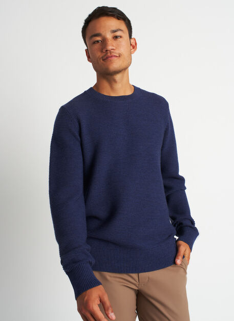 Cozy Merino Crewneck Sweater, Heather Dark Navy | Kit and Ace