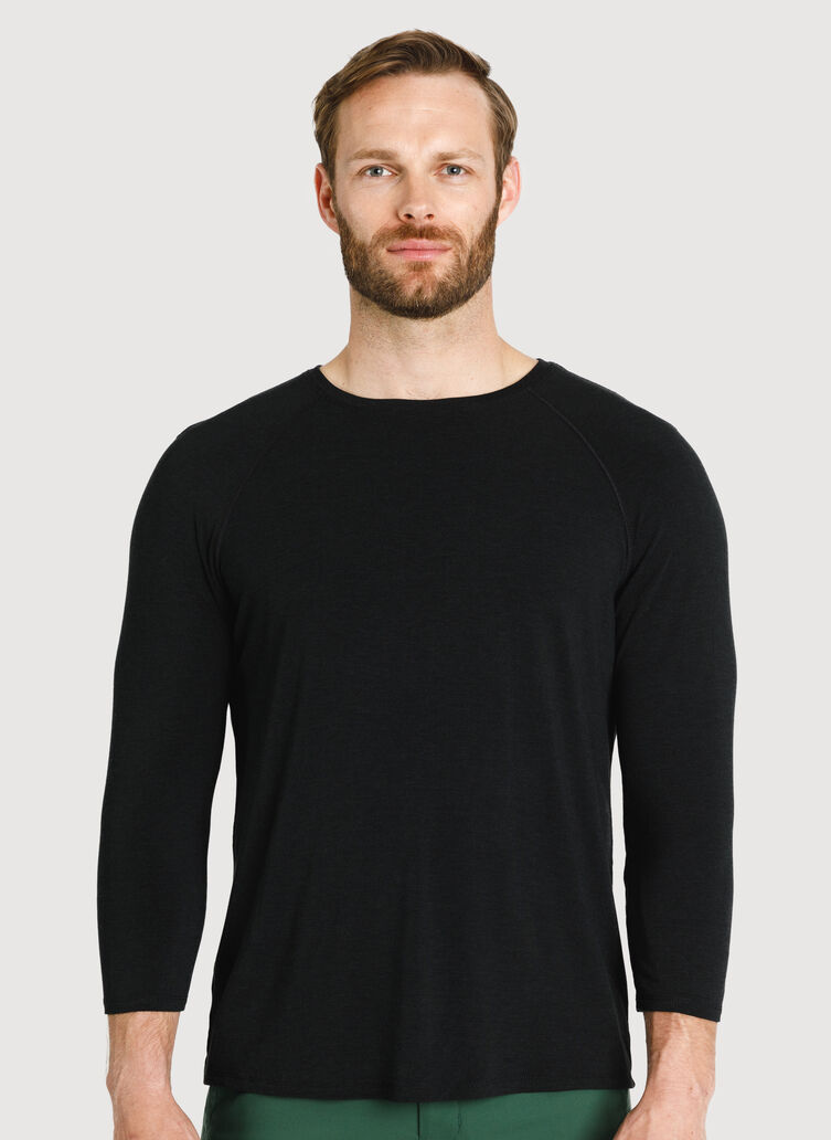 Ace Tech Jersey Baseball Tee, Heather Black | Kit and Ace