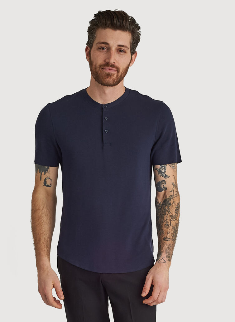 Henley Brushed Crew, DARK Navy | Kit and Ace