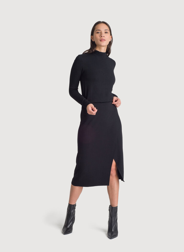 Brushed Mock Neck Long Sleeve Dress, BLACK | Kit and Ace