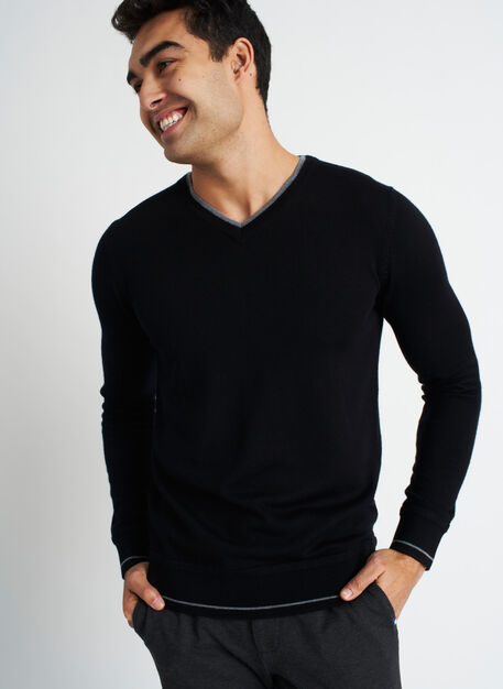 Handsome Merino Sweater, BLACK/HTHR GREY | Kit and Ace
