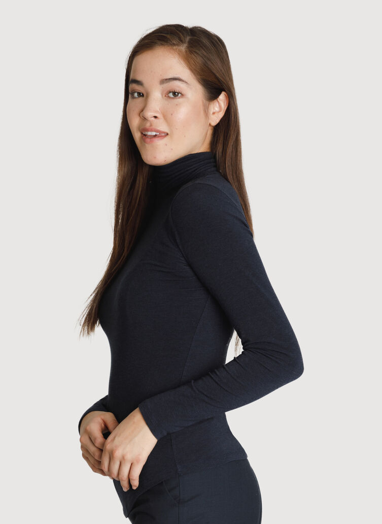 Rib Turtleneck Long Sleeve, HTHR DK Navy | Kit and Ace