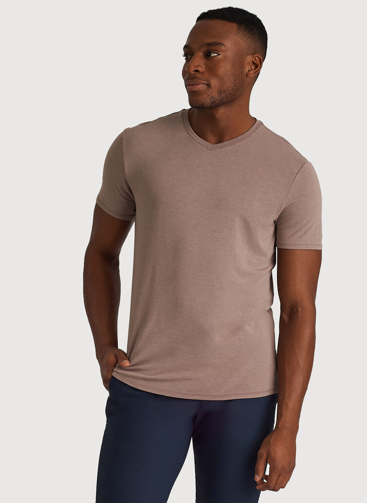 Ace Tech Jersey V-Neck Tee Standard Fit, Heather Dark Oat | Kit and Ace