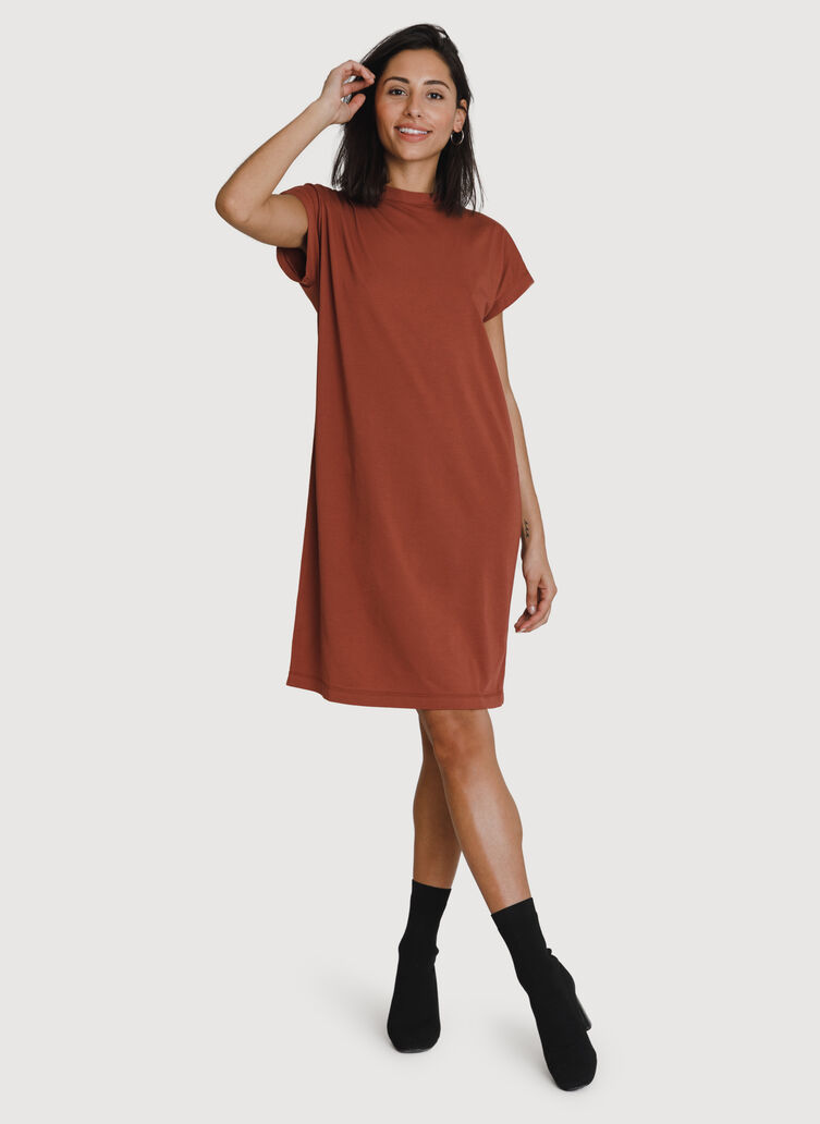 Mock Neck Pima Boyfriend Dress, Rosewood | Kit and Ace