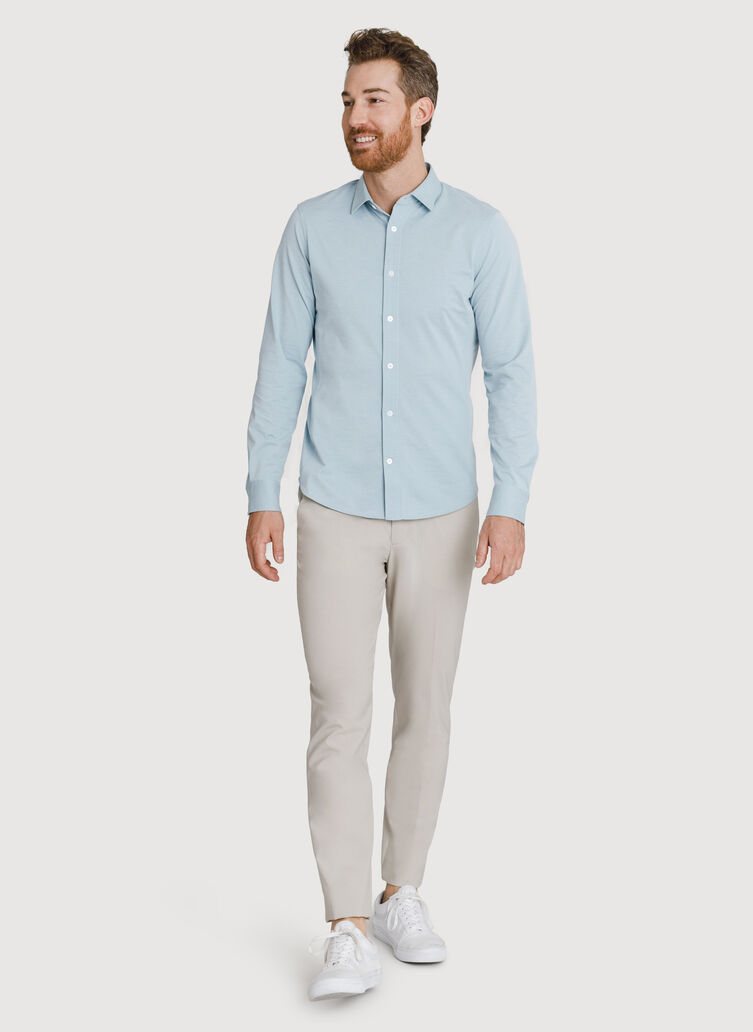 Court Stretch Long Sleeve Button Down, Smoke Blue Chambray | Kit and Ace