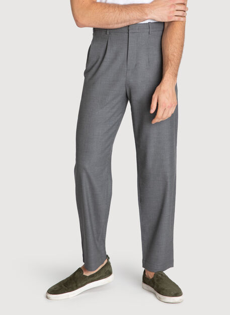 Ace Pleated Trouser, HTHR GREY | Kit and Ace
