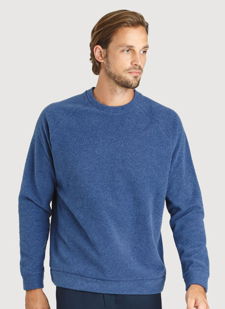 Snug Crewneck Sweater, Heather Blue Indigo | Kit and Ace