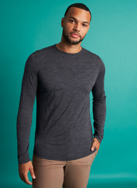 Merino Crewneck Tee, Heather Charcoal | Kit and Ace