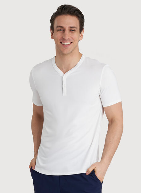 Ace Tech Henley Tee, Bright White | Kit and Ace