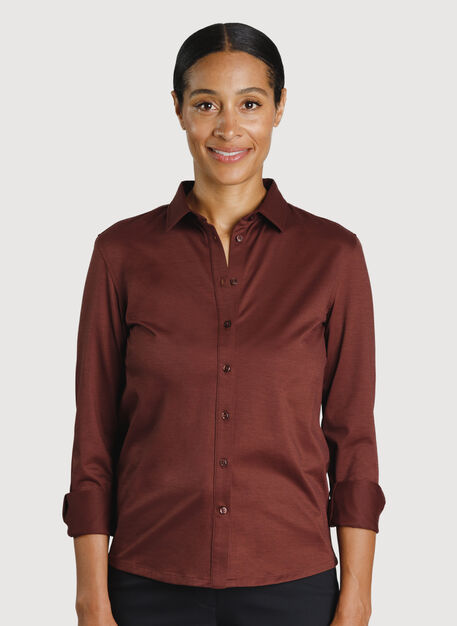 O.T.M. Long Sleeve Button Up, Cherrywood | Kit and Ace