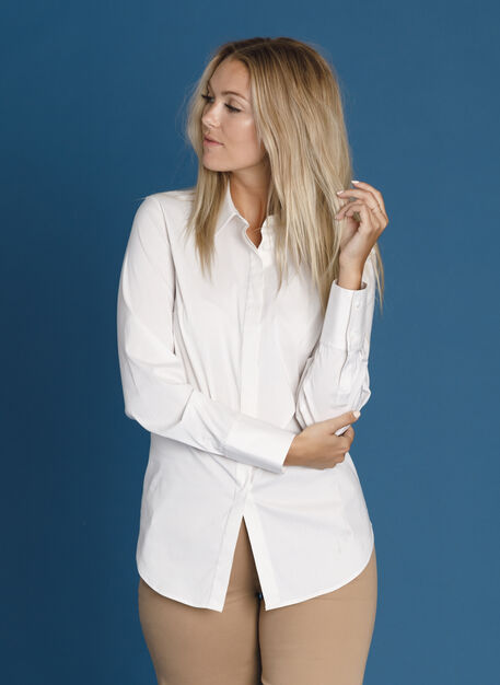 Stretch Tailored Blouse, Bright White/Aran Stripe | Kit and Ace