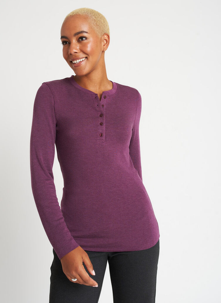 Brushed Henley Long Sleeve Tee, Heather Plum   Kit and Ace