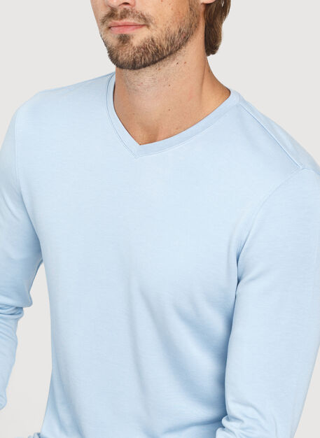 The B.F.T. Long Sleeve V-Neck Tee, Heather Celestial Blue | Kit and Ace
