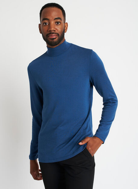 First Class Turtleneck, Heather Night Blue | Kit and Ace