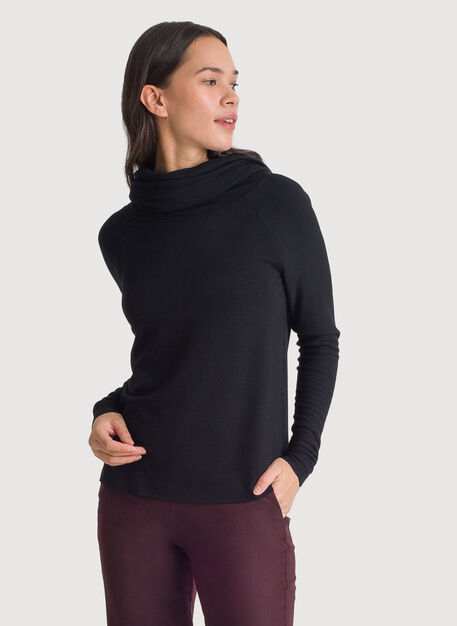 Brushed Cowl Neck Long Sleeve Tee, BLACK | Kit and Ace