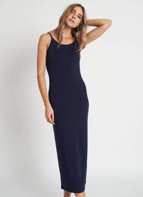 Brushed Midi Dress, Dark Navy | Kit and Ace