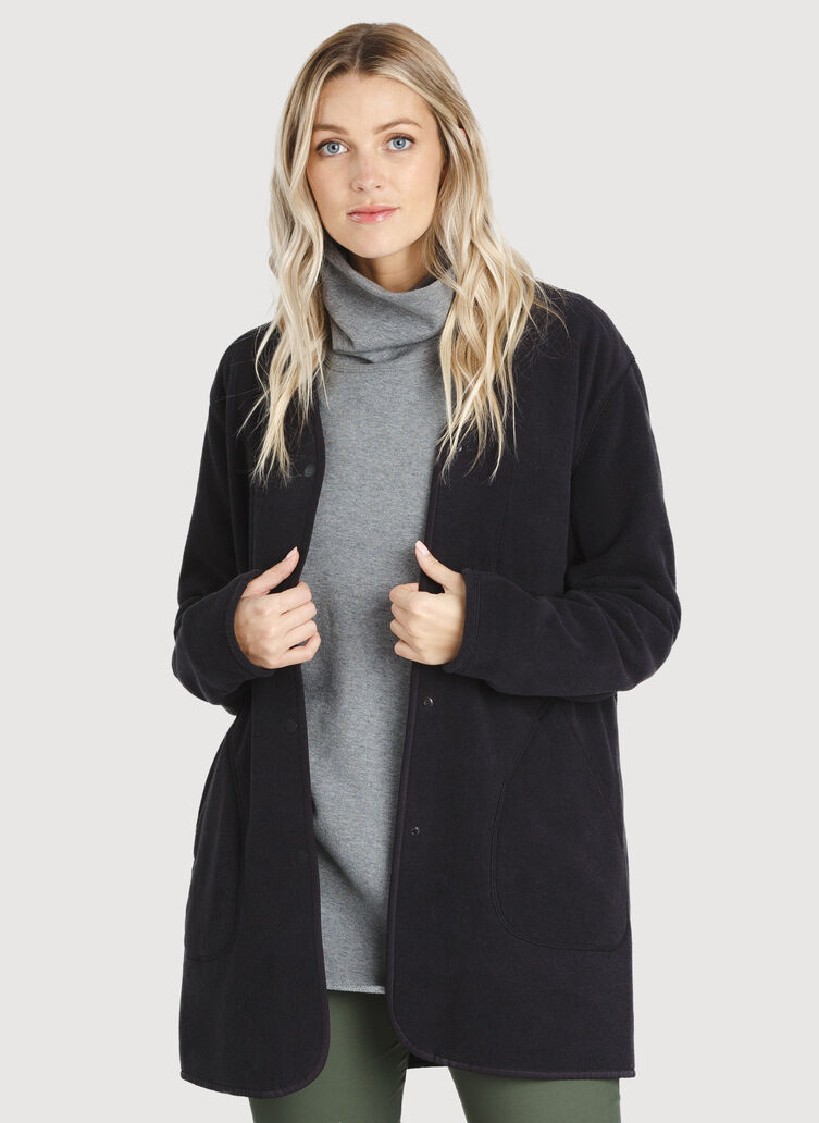 Hygge Long Jacket, BLACK | Kit and Ace