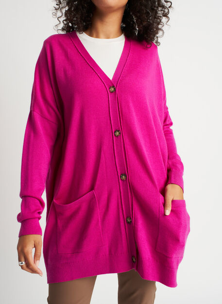 Travel On Merino Cardigan, Magenta | Kit and Ace