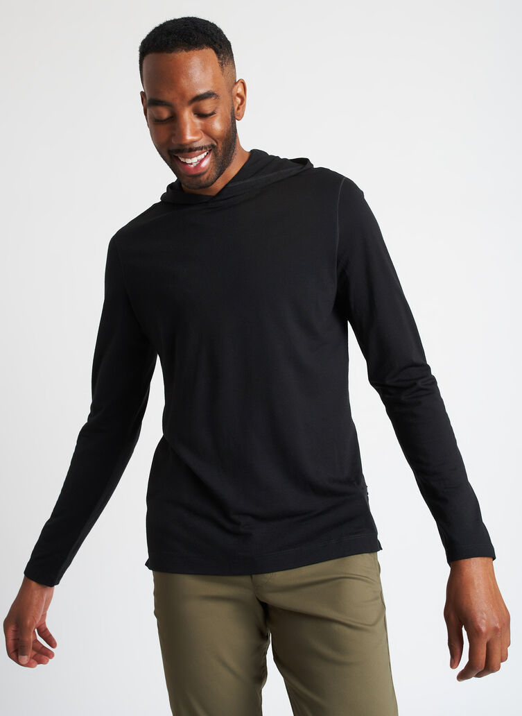 Merino Jersey Hooded Tee, Black   Kit and Ace