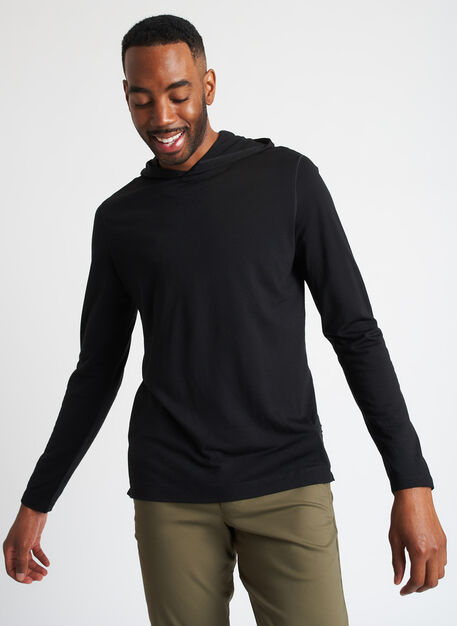 Merino Jersey Hooded Tee, Black | Kit and Ace