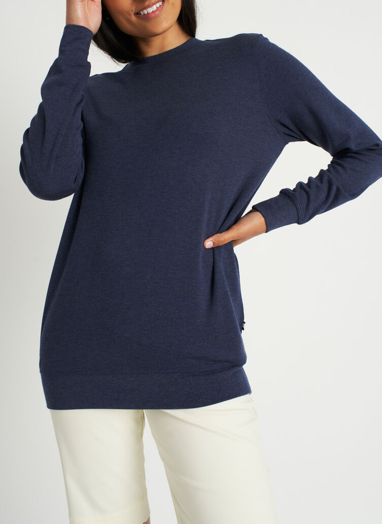 Weekend Pullover, Heather Dark Navy | Kit and Ace