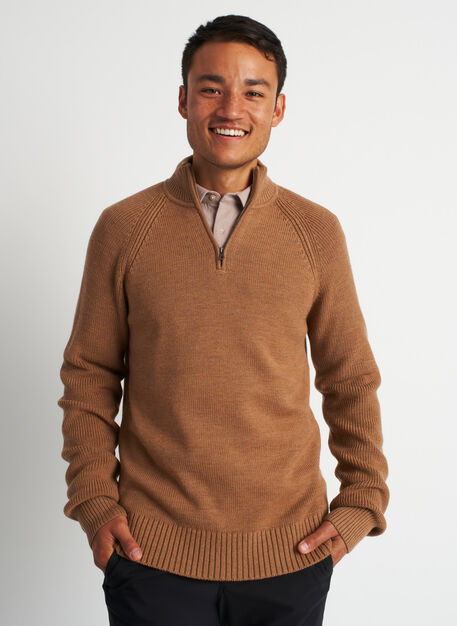 Cozy Merino Turtleneck Sweater, Heather Toffee | Kit and Ace