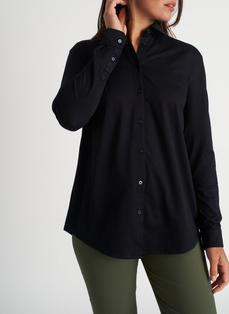 O.T.M. Pleated Button Up Shirt, Black | Kit and Ace
