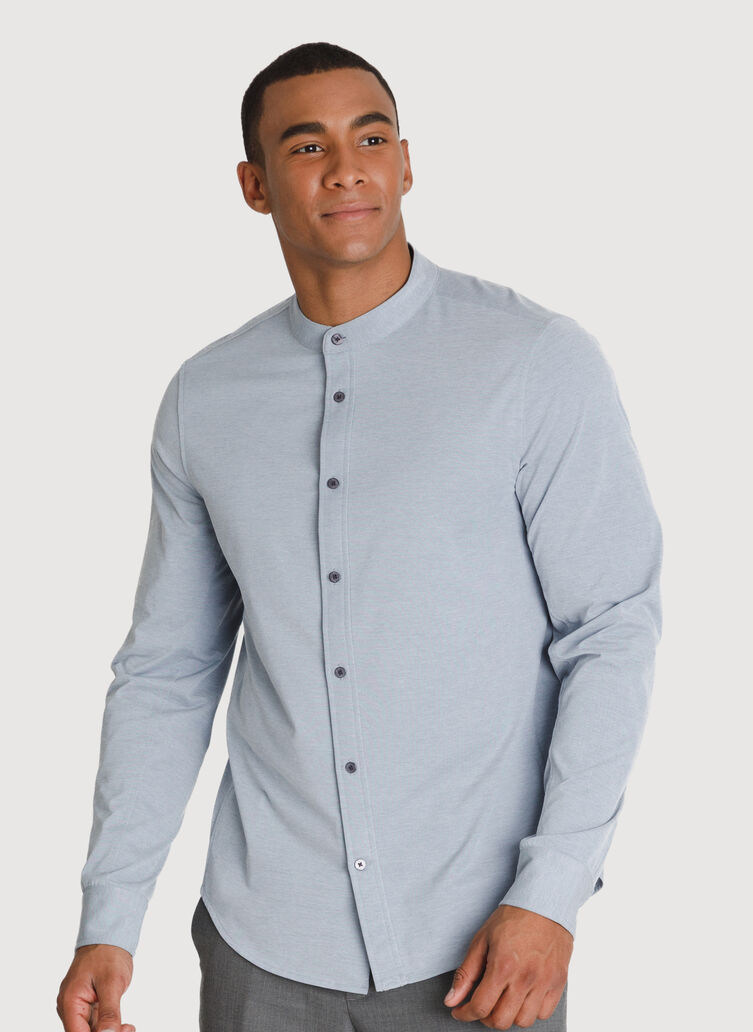 Court Stretch Relaxed Long Sleeve, Dark Denim Chambray   Kit and Ace