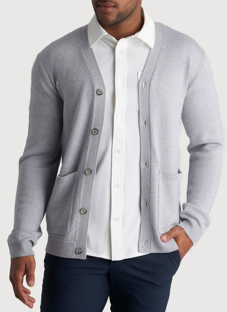 Layover Cardigan, Heather Flint Grey | Kit and Ace
