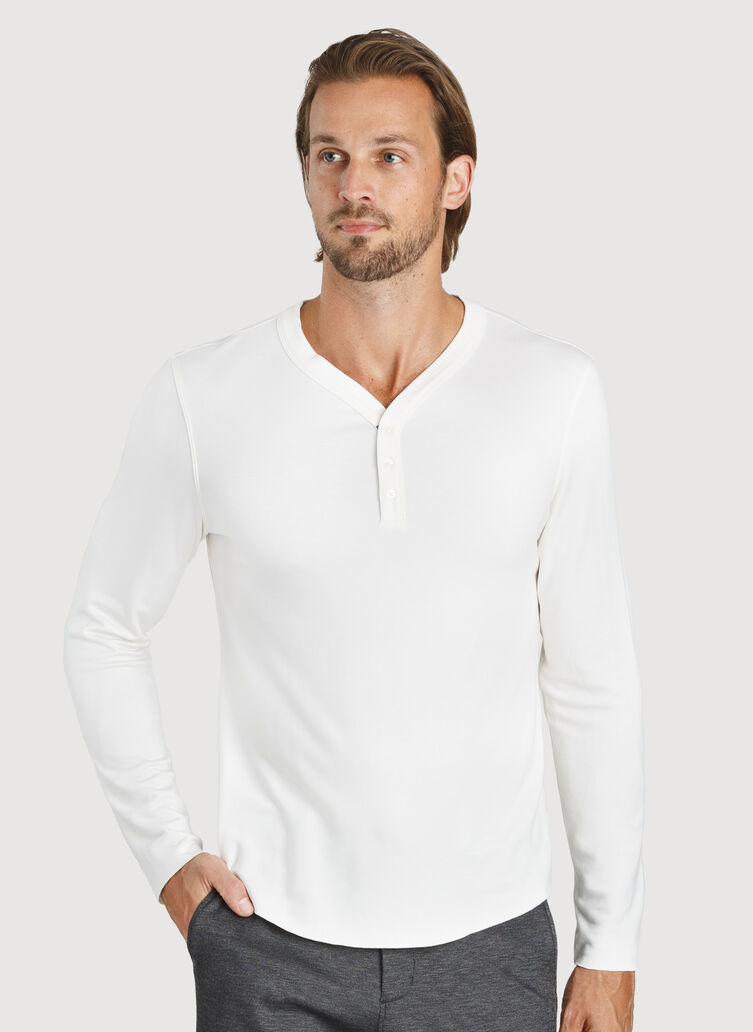 First Class Henley Tee, Bone White | Kit and Ace