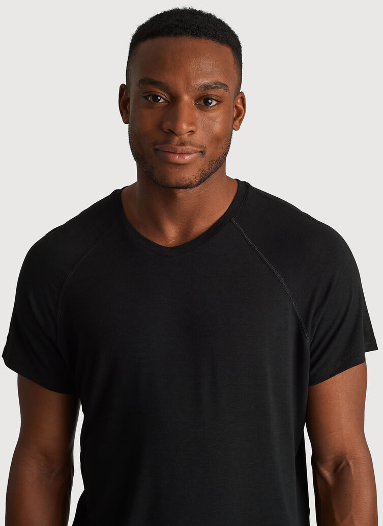 Ace Tech Jersey V Tee Relaxed Fit, HTHR Black | Kit and Ace