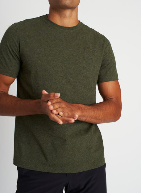 Motion Crewneck Tee, Heather Deep Forest | Kit and Ace