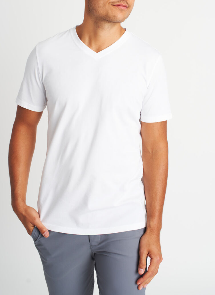 Ace Pima V-Neck Tee, Bright White | Kit and Ace
