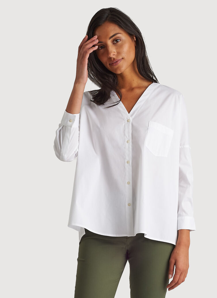 Stretch Shirting V Neck Blouse,  | Kit and Ace