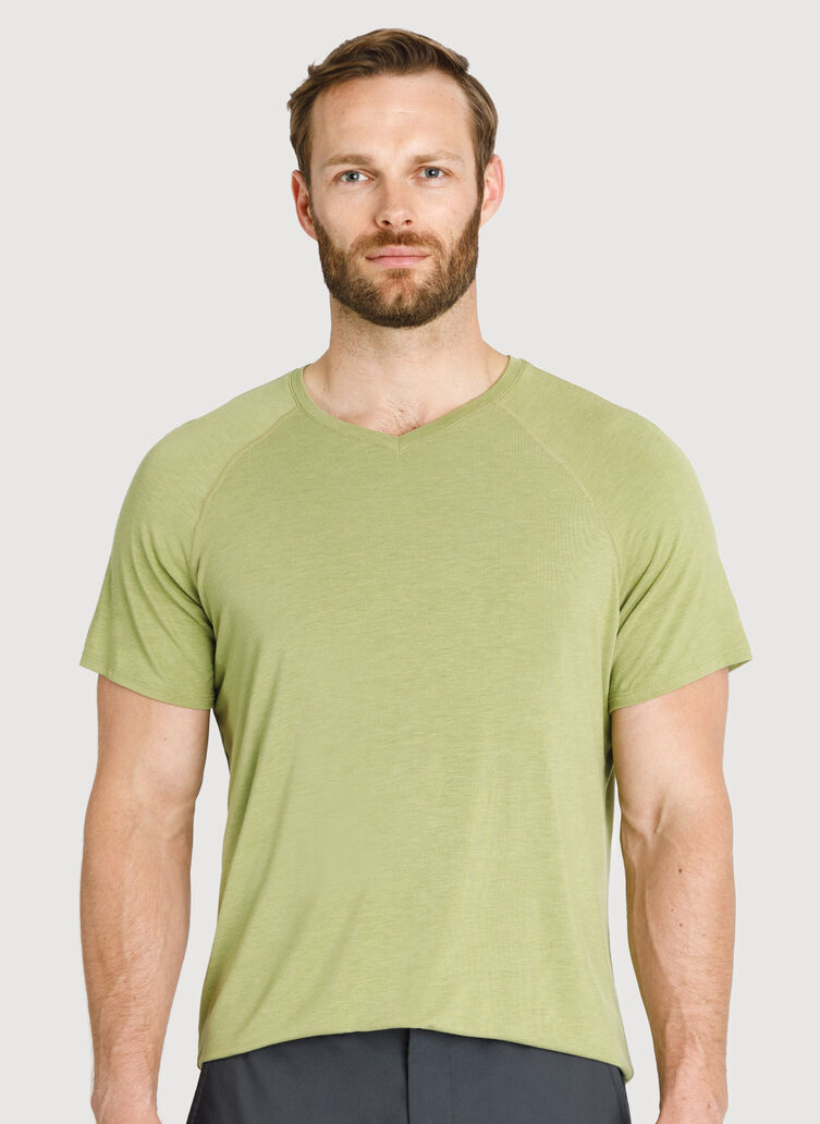 Ace Tech Jersey V Tee Relaxed Fit, HTHR Sweet Grass | Kit and Ace