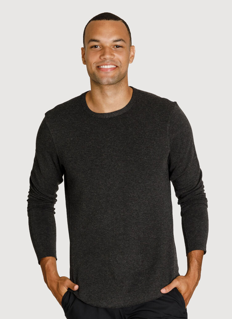 Raw Brushed Long Sleeve Crew Neck, HTHR Charcoal | Kit and Ace