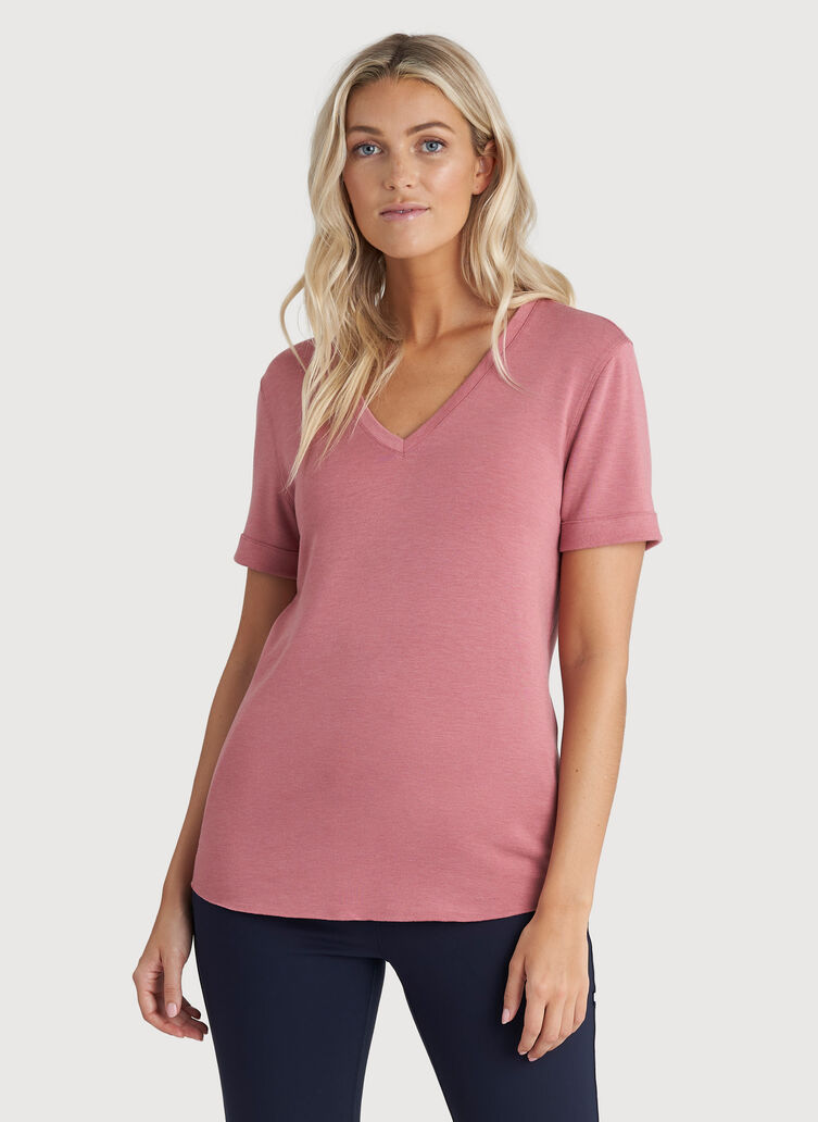 Good Feels Brushed V-Neck Tee, Heather Dusty Rose | Kit and Ace
