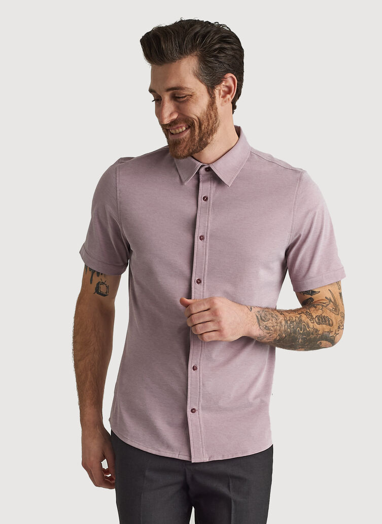 City Tech Short Sleeve Shirt, Sangria Chambray | Kit and Ace