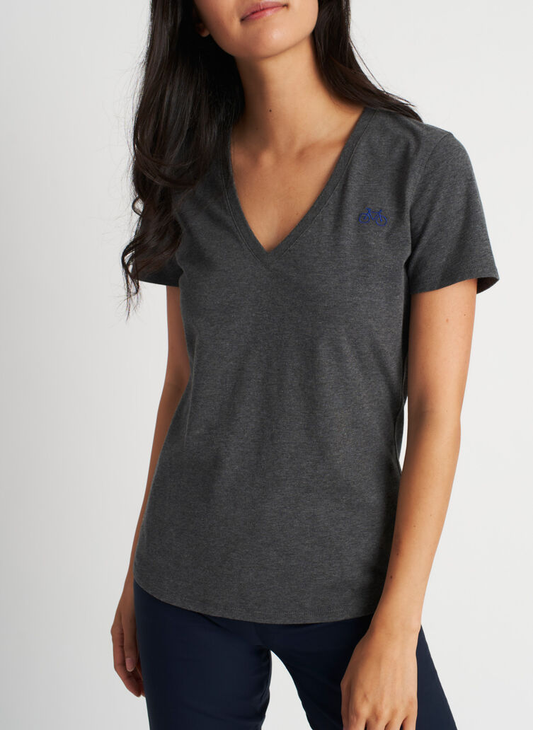 Movement V-Neck Tee, Heather Charcoal | Kit and Ace