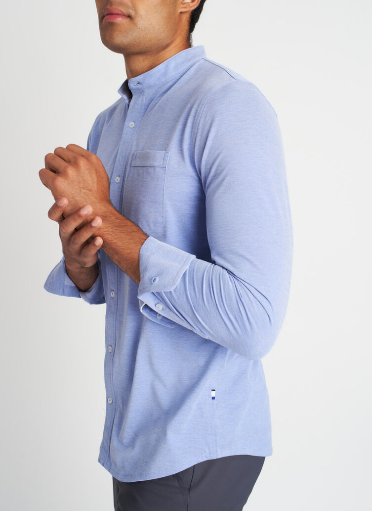 City Tech Collarless Shirt, Ocean Chambray | Kit and Ace