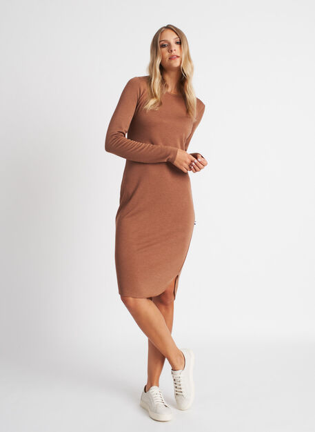 Good Feels Brushed Crewneck Dress, Heather Toffee | Kit and Ace