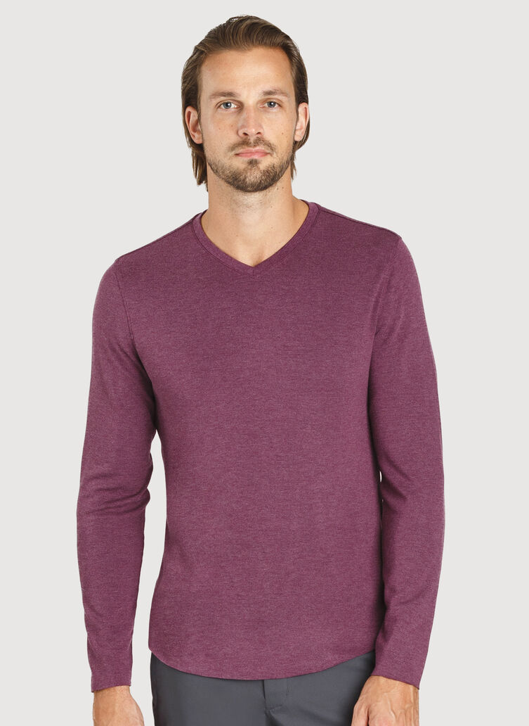 The B.F.T. Long Sleeve V-Neck Tee, Heather Dark Plum | Kit and Ace