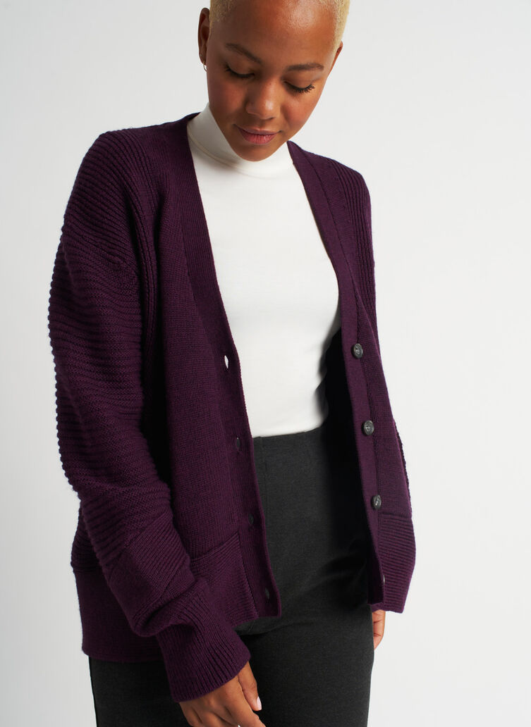 Ash Cardigan, Heather Plum Wine | Kit and Ace