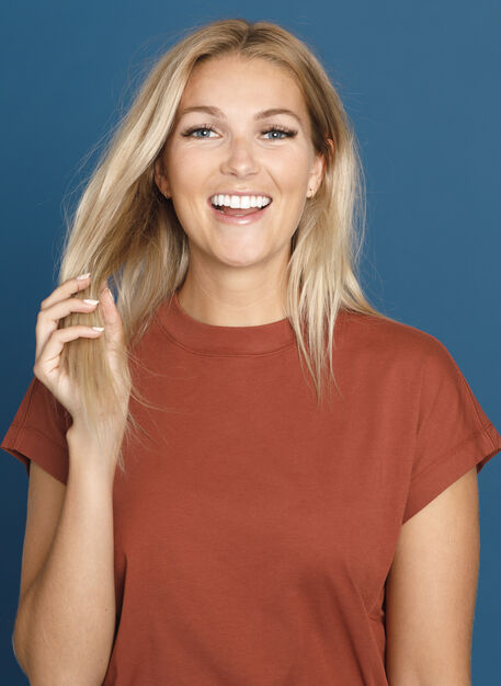 Mock Neck Pima Boyfriend Tee, Rosewood | Kit and Ace