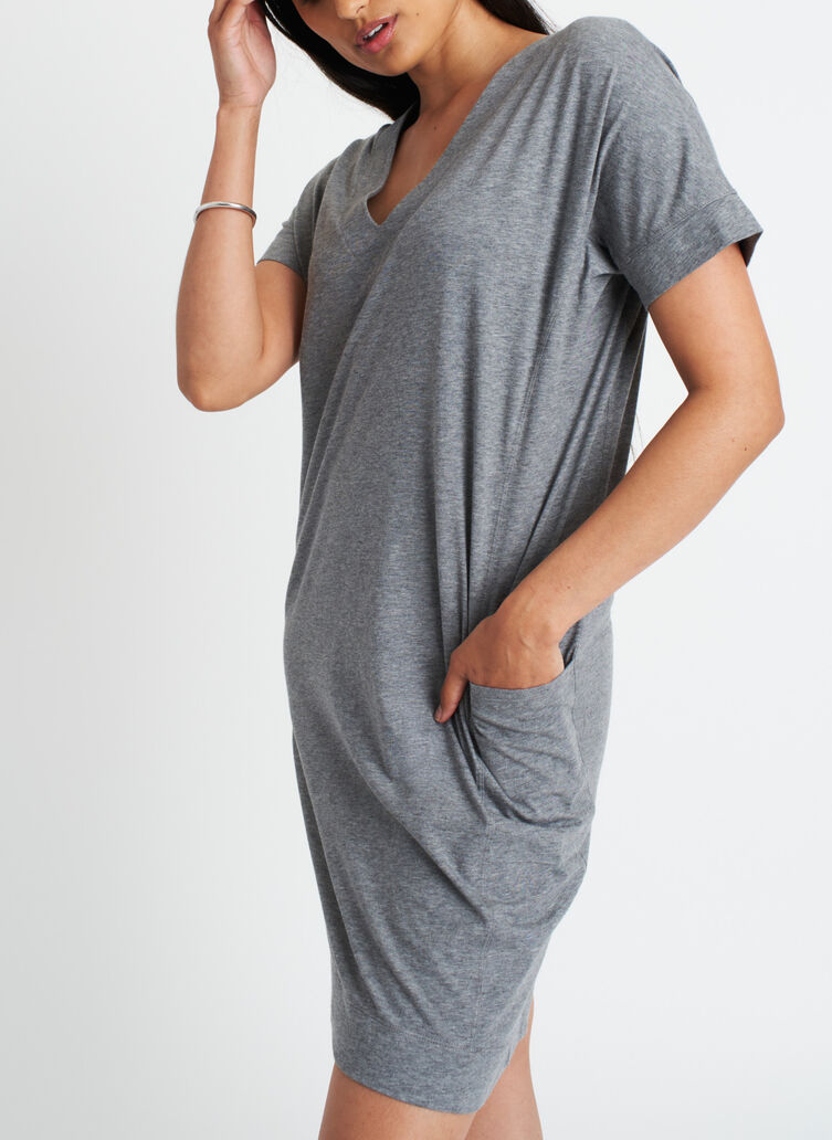 Back to Front Dress, Heather Grey   Kit and Ace