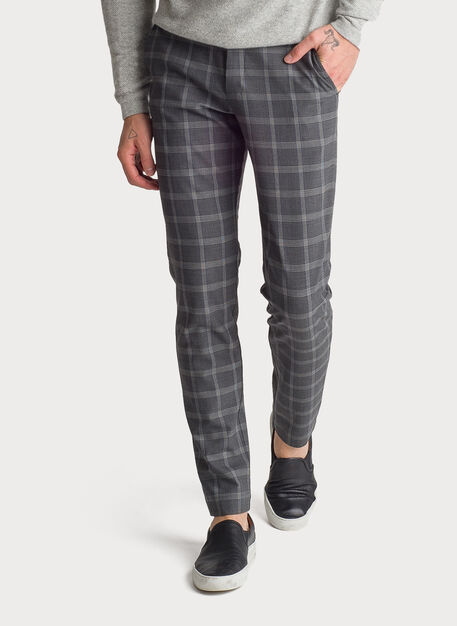 Fraser Stretch Trouser, HTHR CHARCOAL PLAID | Kit and Ace