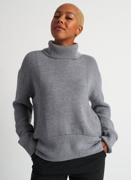 Ash Turtleneck Sweater, Heather Grey | Kit and Ace